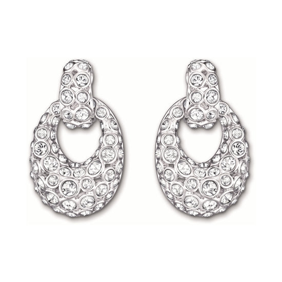 SWAROVSKI RARELY CLEAR AND CHAMPAGNE DROP STUD EARRING