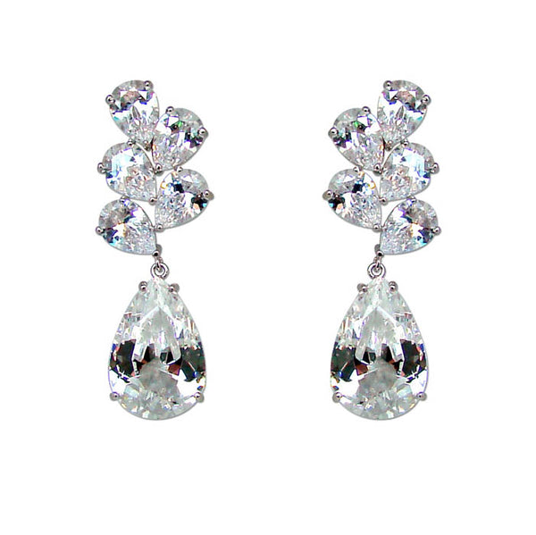 CHRYSALINI TEARDROP ZIRCONIA LONG EARRINGS