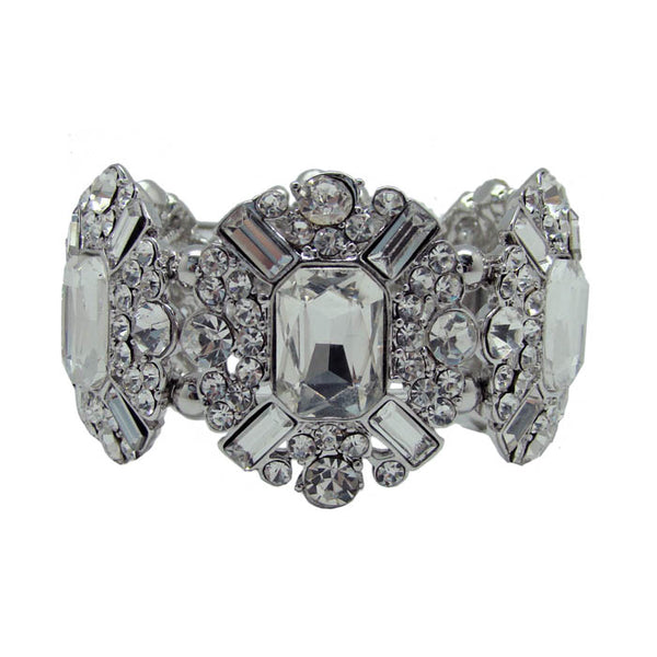 CHRYSALINI CLEAR ART DECO STRETCH BRACELET