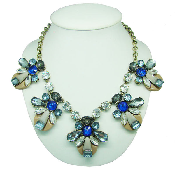 CHRYSALINI - DIAMANTE BLUE CLEAR STONE NECKLACE