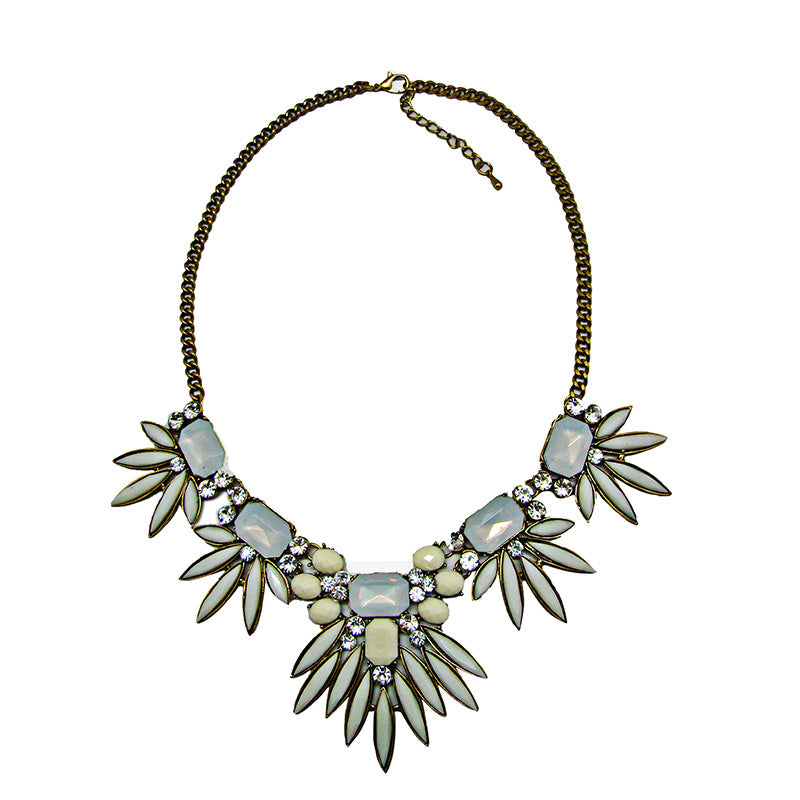 CHRYSALINI DIAMANTE WHITE ENAMEL NECKLET