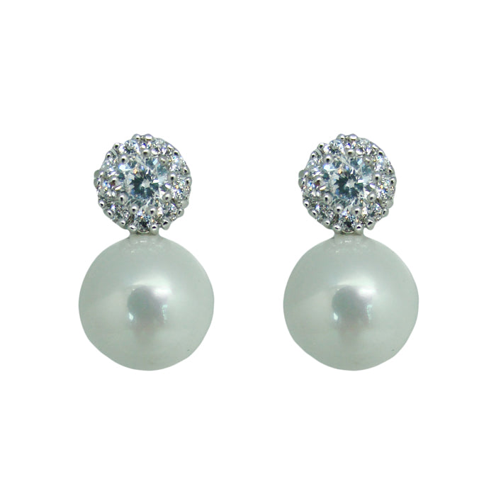 ZIRCONIA AND PEARL EARRINGS