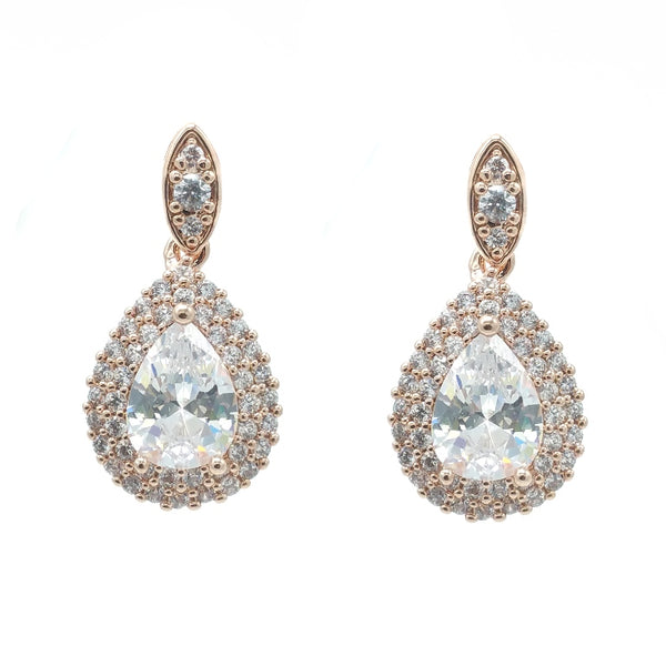 CHRYSALINI ROSE GOLD ZIRCONIA EARRINGS