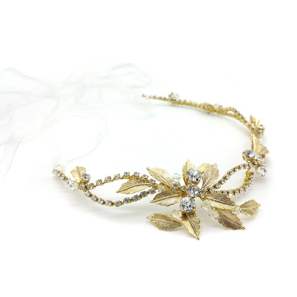 CHRYSALINI VINTAGE GOLD LEAF HEAD PIECE