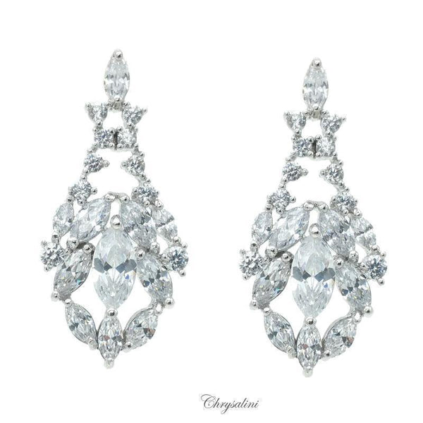 TEARDROP MULTI CUBIC ZIRCONIA 30MM LONG DROP EARRINGS