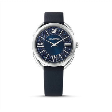 CRYSTALLINE GLAM WATCH, LEATHER STRAP, BLUE