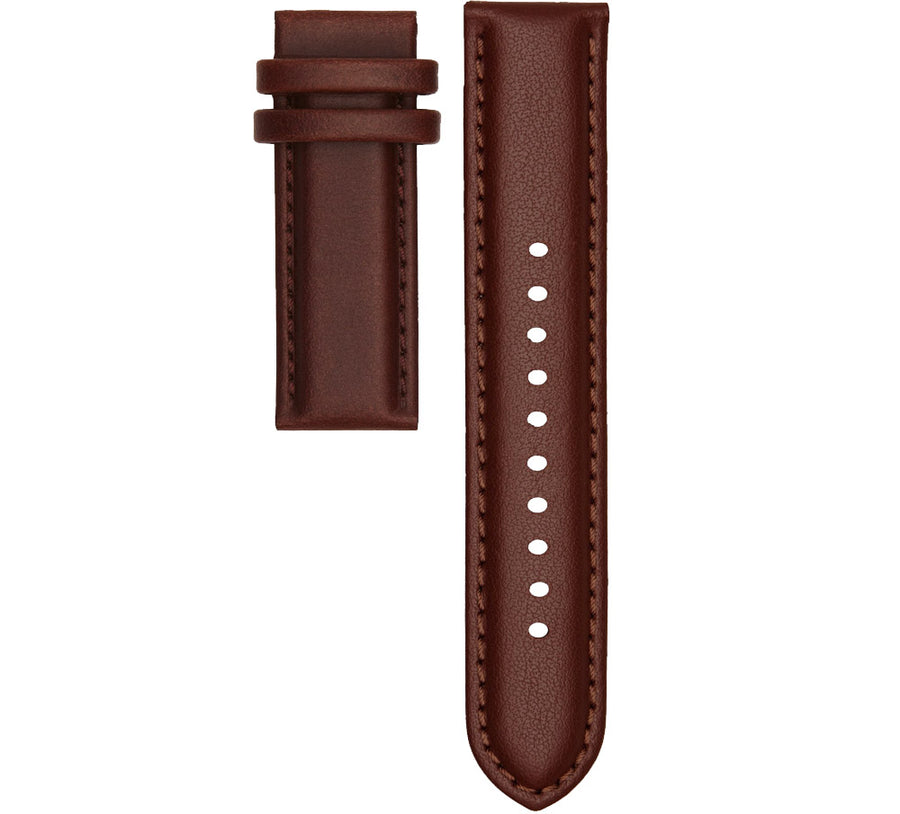STITCHED BROWN LEATHER 20MM STRAP