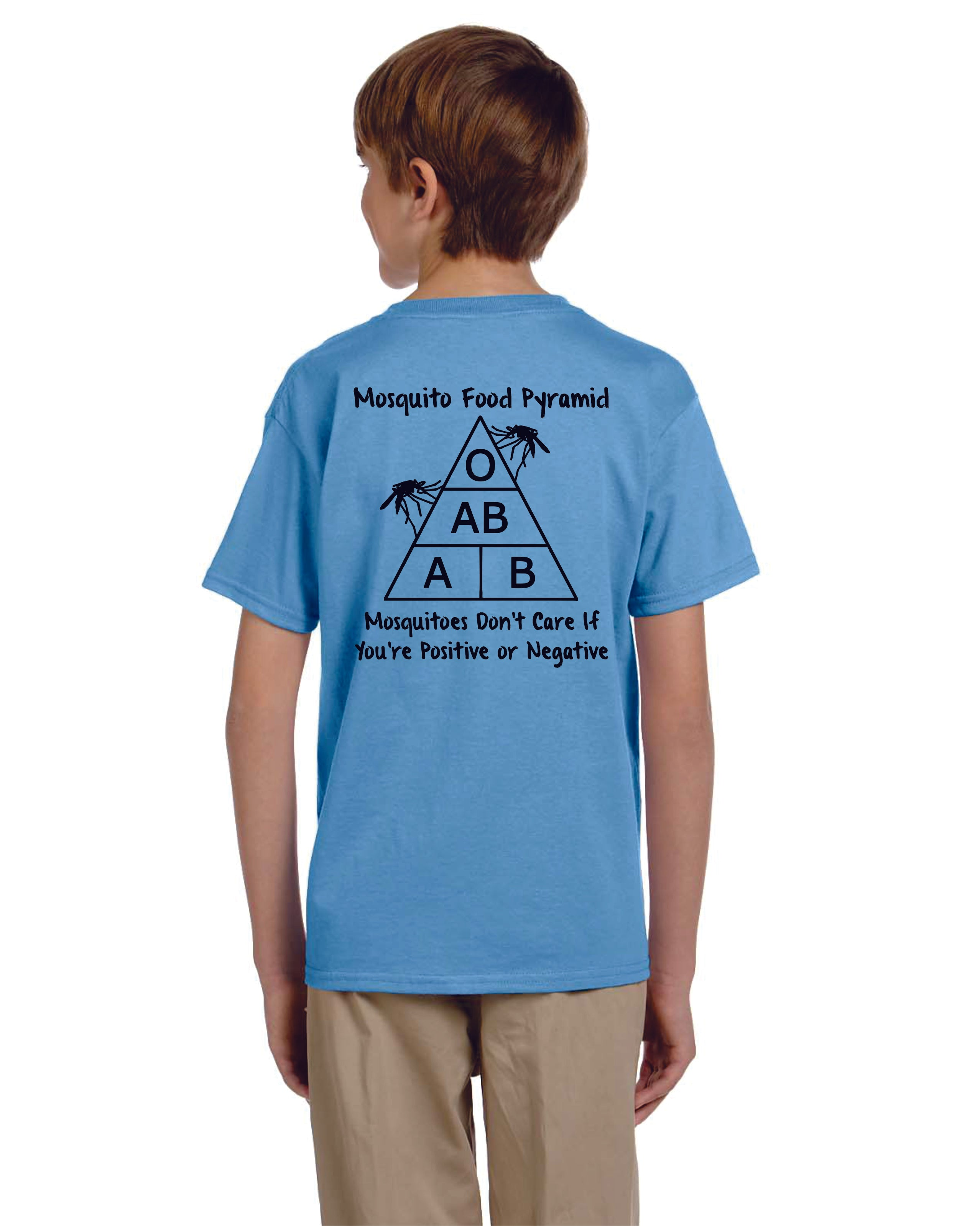 Youth Mosquito Food Pyramid Unisex Cotton Novel-Tee  Make a statement in our Gildan Youth Ultra Cotton T (Sport Gray 90/10 Blend & Ash Gray 99/1 Blend)  Cool breathable cotton keeping you comfortable all summer long in our Mosquito Food Pyramid Tee!