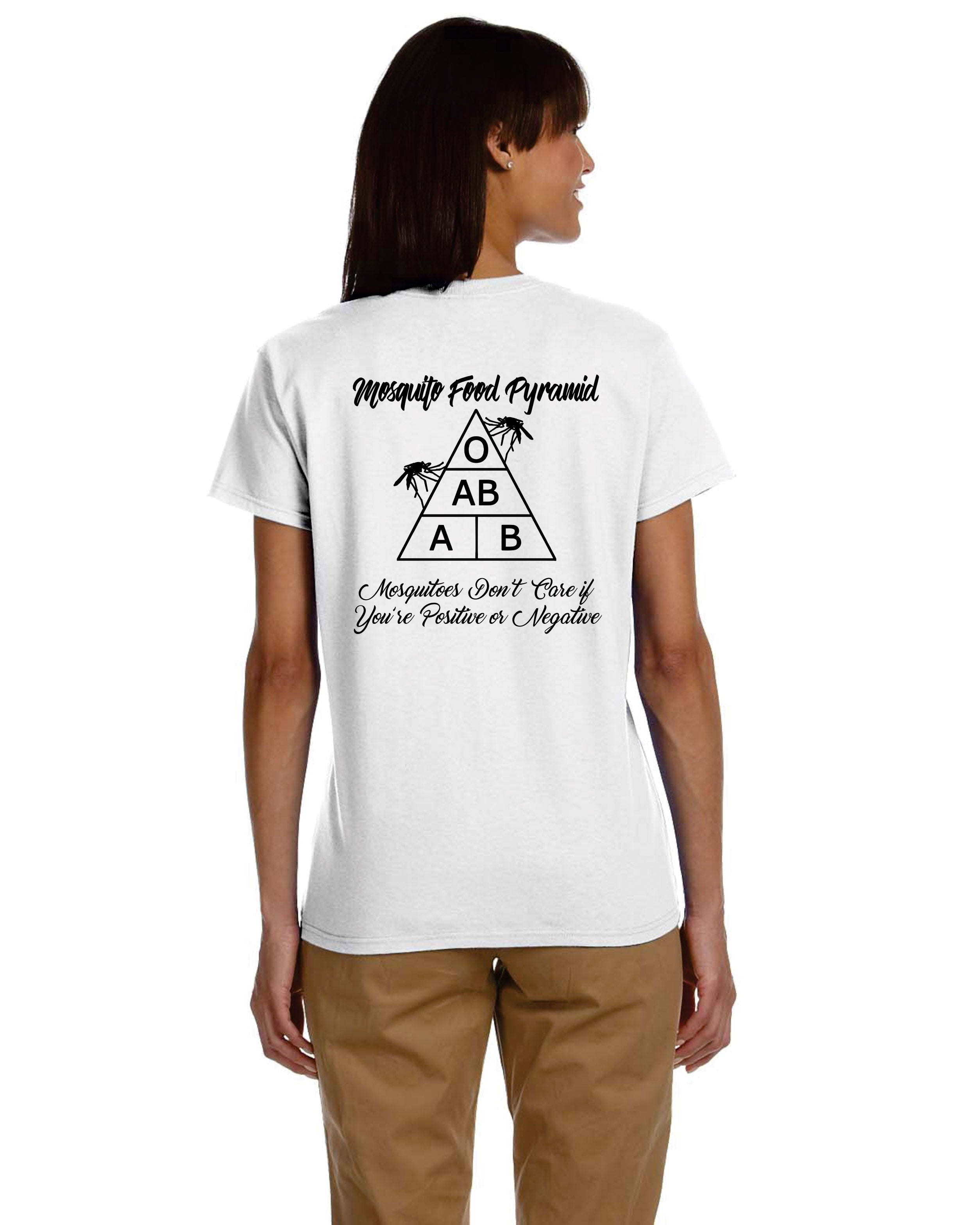 Ladies' Mosquito Food Pyramid Novel-Tee Make a statement this summer in our Gildan Ultra 100% Cotton Ladies' Tee (Sport Gray 90/10 Cotton/Poly blend) Enjoy the comfort and fun in our Ladies' Mosquito Food Pyramid Novel-Tee **Order true to size for a formed fit***Order up one size for a looser fit**