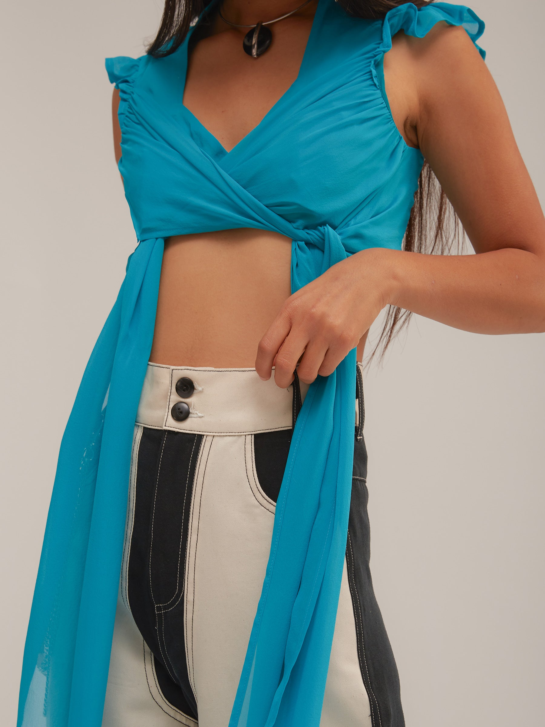 Elektra Top in Blue/Teal