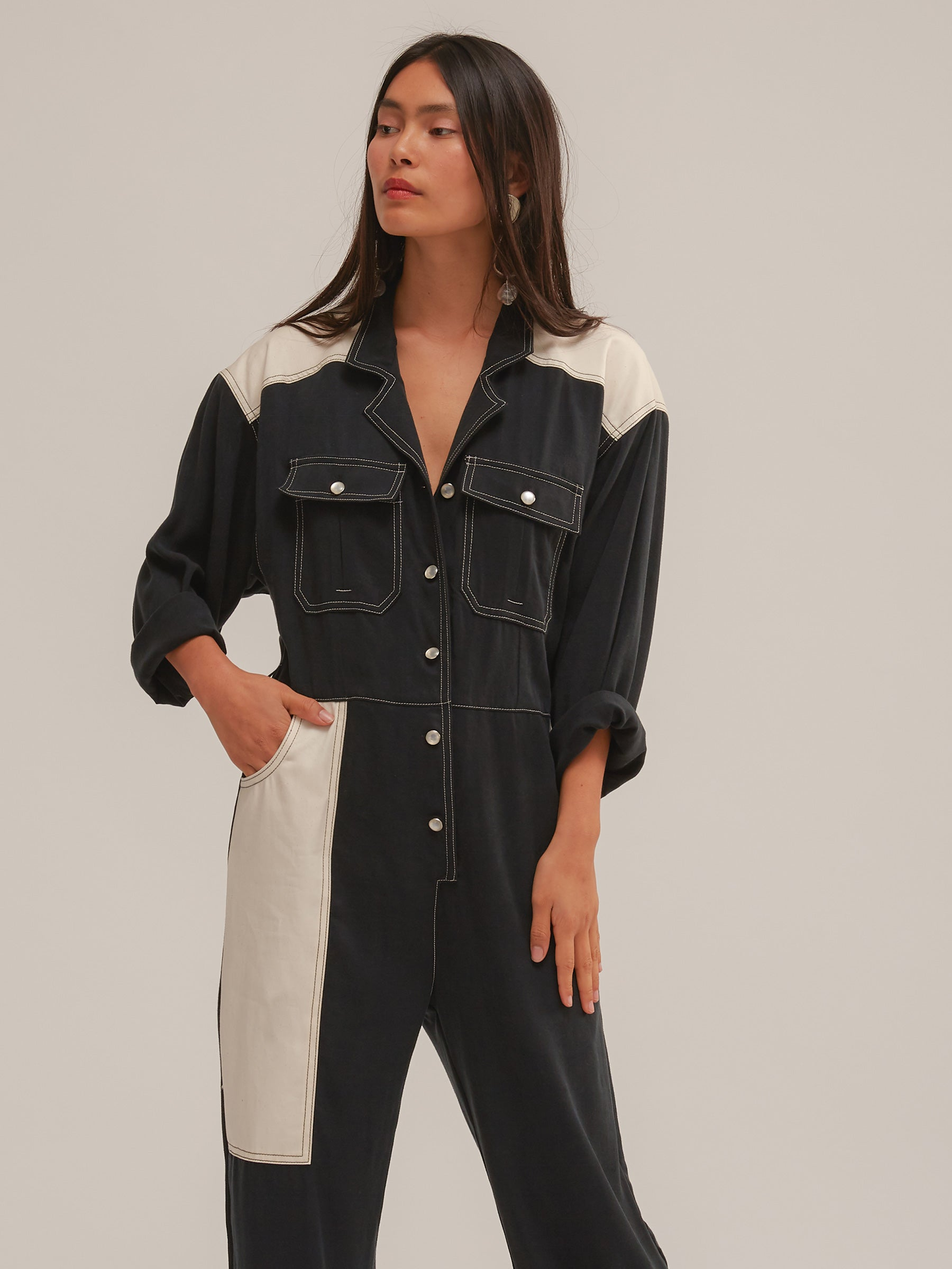 Crowe Jumpsuit in Black/Buttercream