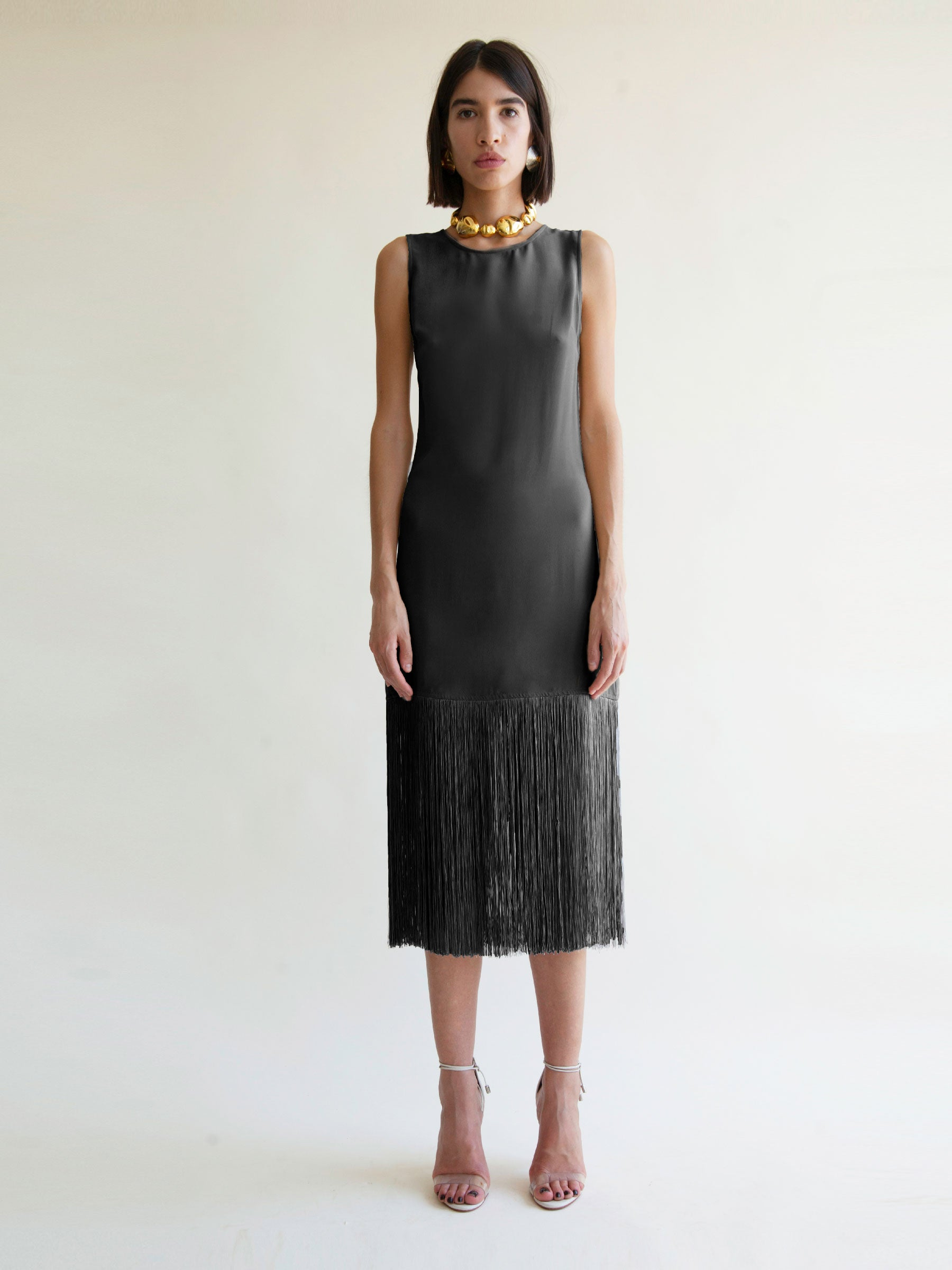 Ramblas Fringe Dress in Black [Pre-Order]