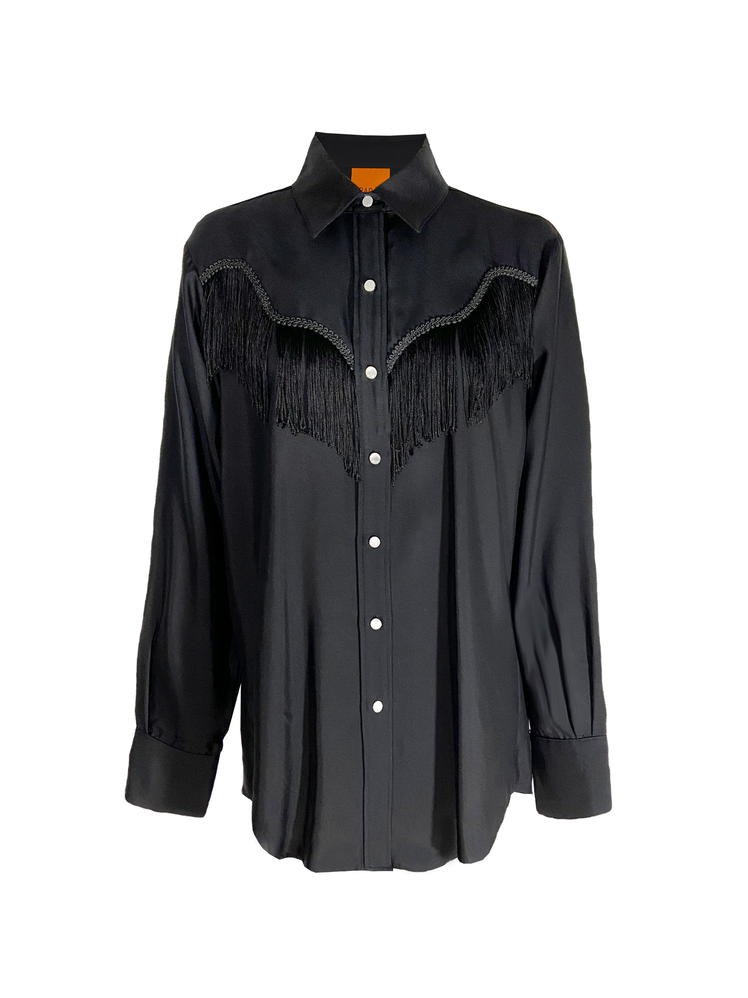 Oversized black silk fringe shirt