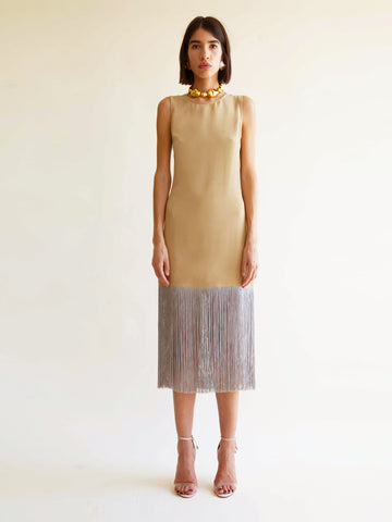 Ramblas Dress with Fringe in Gobi