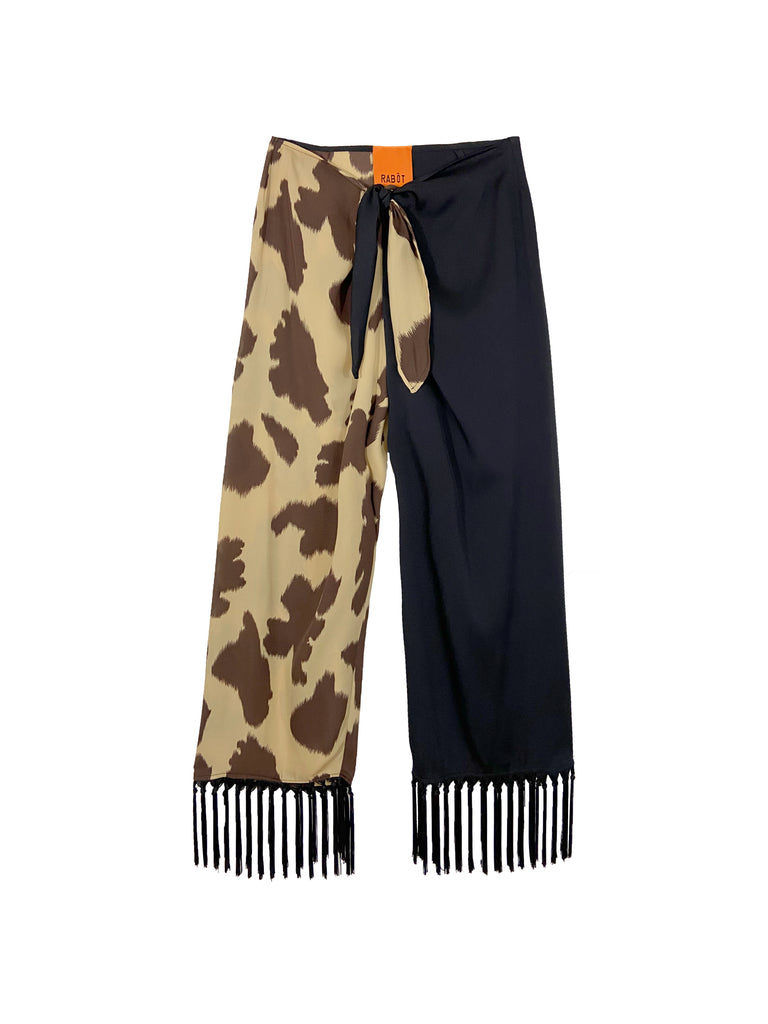 Dolores Fringe Pant in Cow Mix