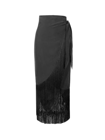 Silk fringe wrap skirt