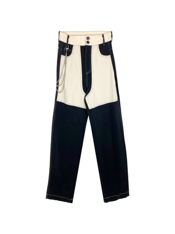 Silas Pant in Black/Buttercream