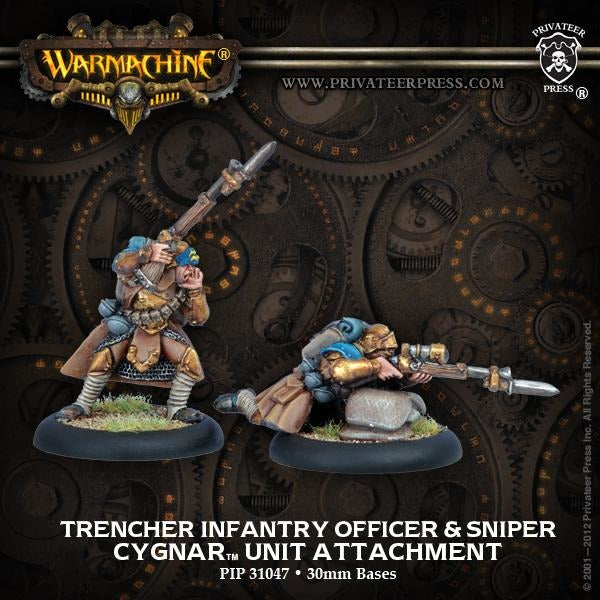 Warmachine: Cygnar Trencher Infantry Officer and SniperUnit Attachment