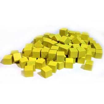 Wooden Cube Tokens 8 mm Yellow (100)
