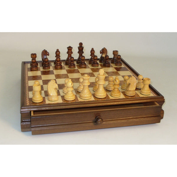 15inwalnut-Maple Wood Chess Set W.Drawer