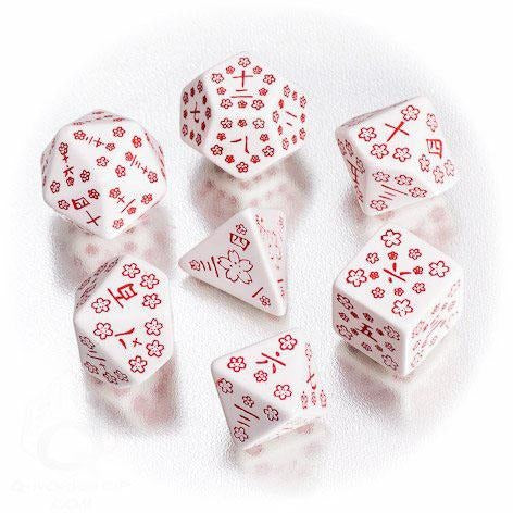 Japanese Kanji Dice Set White/Red (5)