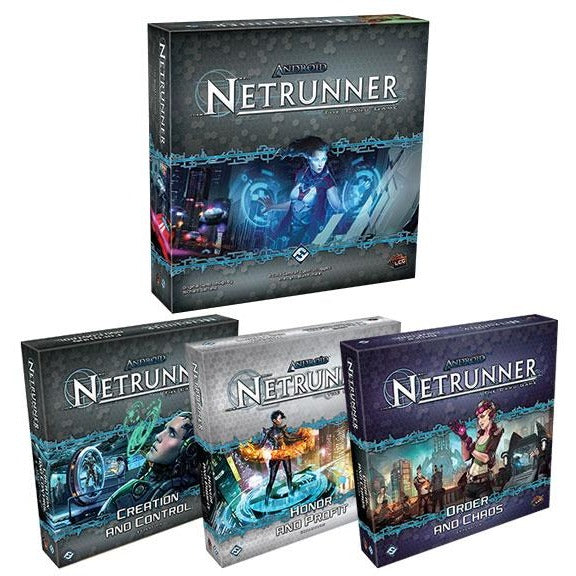 Android Netrunner LCG Bundle: Core Plus Creation and Control / Honor and Profit /  Order and Chaos Expansions