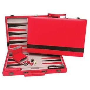Backgammon Case Red With Black Stripe