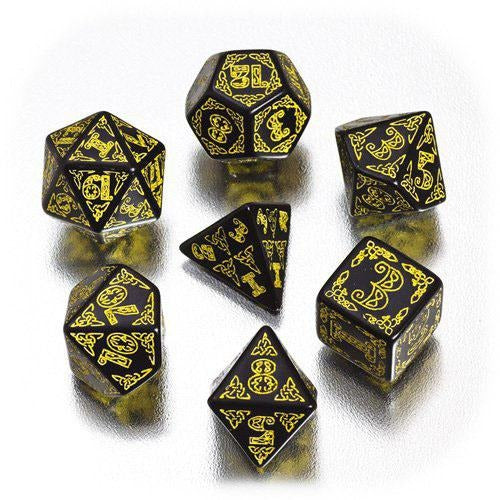 BLACK & YELLOW CELTIC DICE (7)