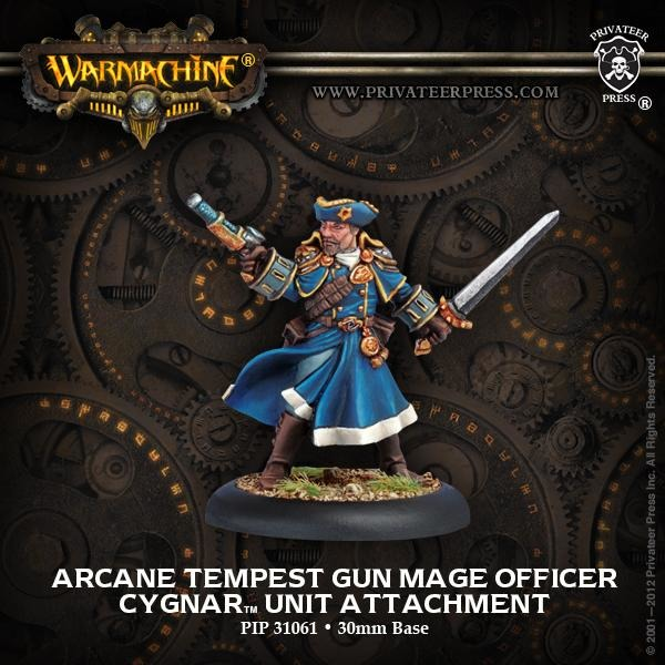 Warmachine: Cygnar Arcane Tempest Gun Mage Officer Unit Attachment