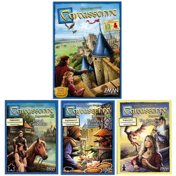 Carcassonne 2.0 Bundle: Core Plus Inns and Cathedrals / Traders and Builders / Princess and The Dragon Expansion