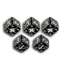 Battle Dice Set German D6 Black/White (5)