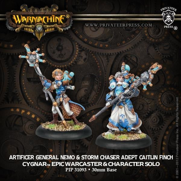 Warmachine: Cygnar Artificer General Nemo and Storm Chaster Adept Caitlin Finch Epic Warcaster and Solo