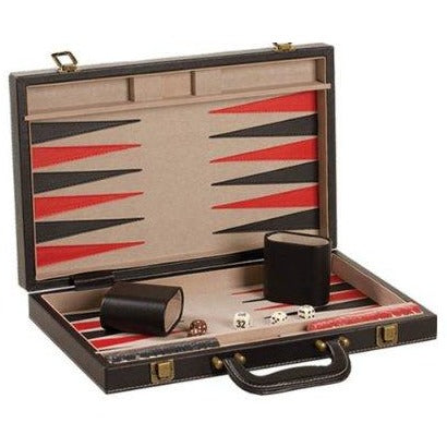 "Backgammon Set 18"" Black/Red Leatherette"