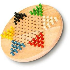 "Chinese Checkers 7"" Wooden W/Pegs"