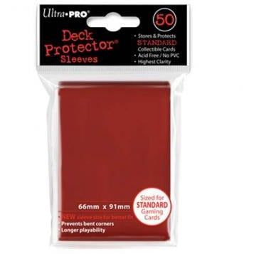 Red Solid 50 Count Deck Protector Display (12)