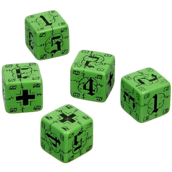 Battle Dice Set German D6 Green/Black(5)