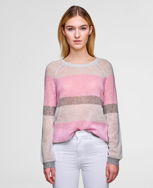 White + Warren - Featherweight Cashmere Bold Stripe Crewneck