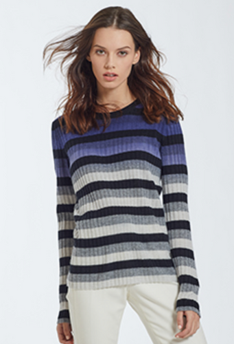 Autumn Cashmere - Dip Dye Striped Crew