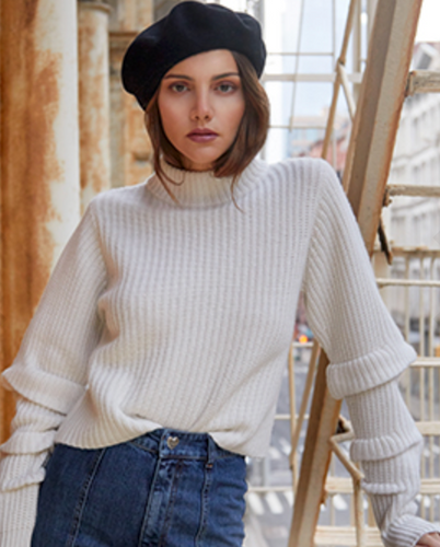 Autumn Cashmere - Crop Mock Neck Sweater