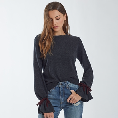 Autumn Cashmere - Crew with Cinched Cuffs