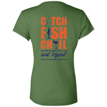 CATCH FISH CHILL & REPEAT Margarita Ladies' Jersey V TEE