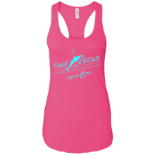 CATCH FISH & CHILL VINTAGE TUNA TEAL LADIES RACERBACK TANK
