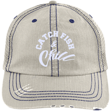 CATCH FISH & CHILL Distressed Unstructured Trucker Cap