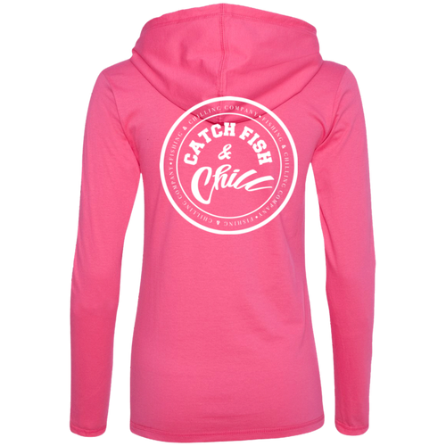 CATCH FISH & CHILL STAMP LADIES HOODIE SHIRT