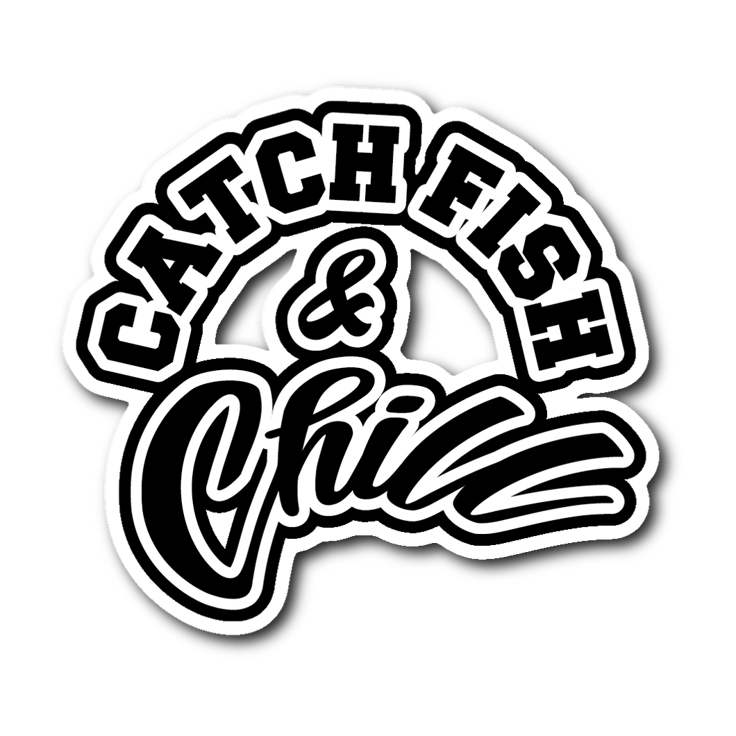 CATCH FISH & CHILL BLACK LOGO STICKER