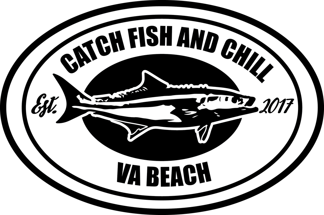 CATCH FISH & CHILL VA BEACH COBIA TRANSFER STICKER