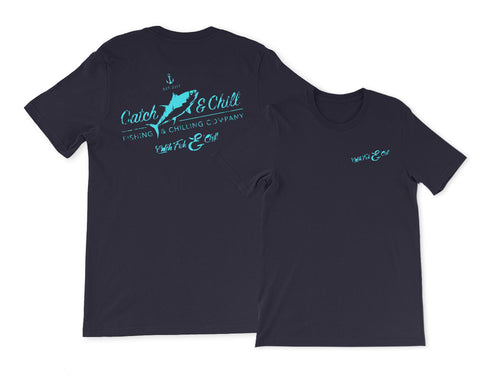 CATCH FISH & CHILL VINTAGE TEAL TUNA TEE