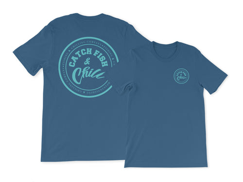 CATCH FISH & CHILL TEAL LOGO TEE
