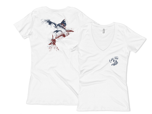 CATCH FISH & CHILL WOMEN'S USA MARLIN V TEE