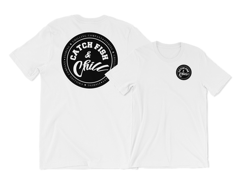 CATCH FISH & CHILL STAMP LOGO TEE